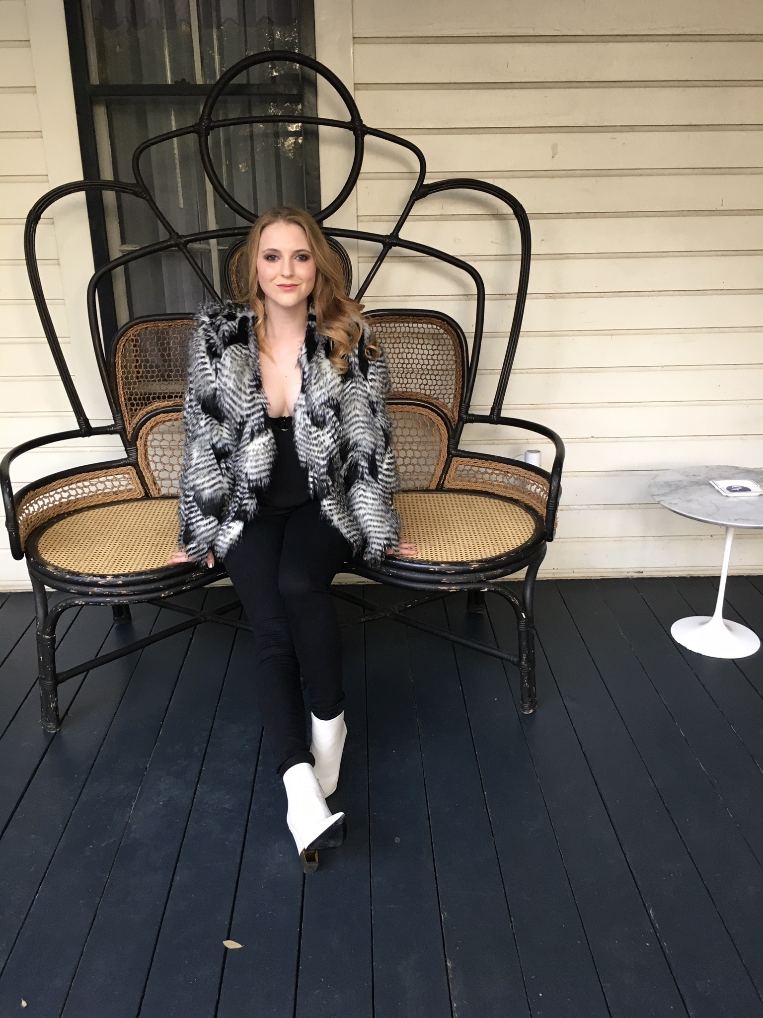 black + white + faux fur all over
